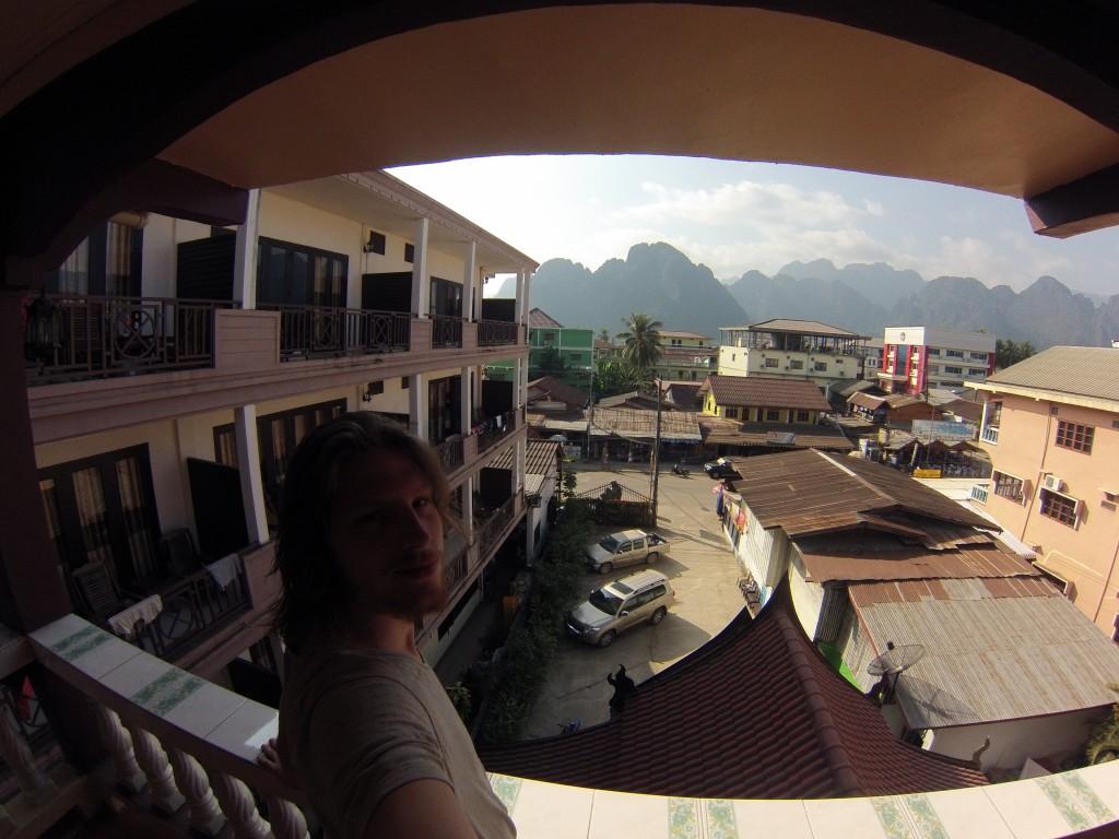 Vue de ma guesthouse à Vang Vieng